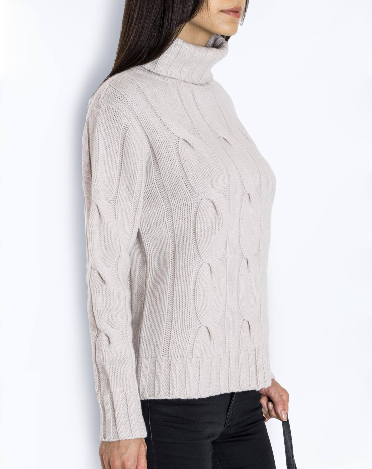 Women's Pure Cashmere Cable Knit Polo Neck Jumper | MaisonCashmere
