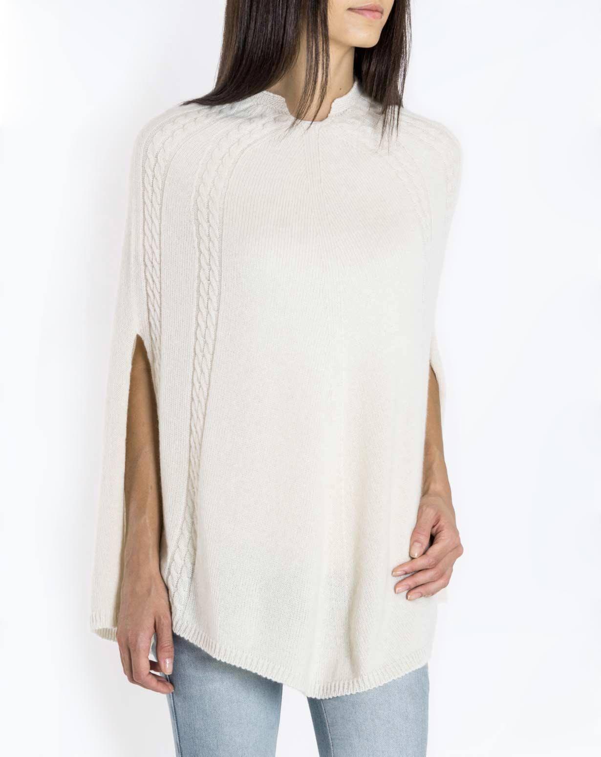 Women's Pure Cashmere Cable Knit Poncho | MaisonCashmere