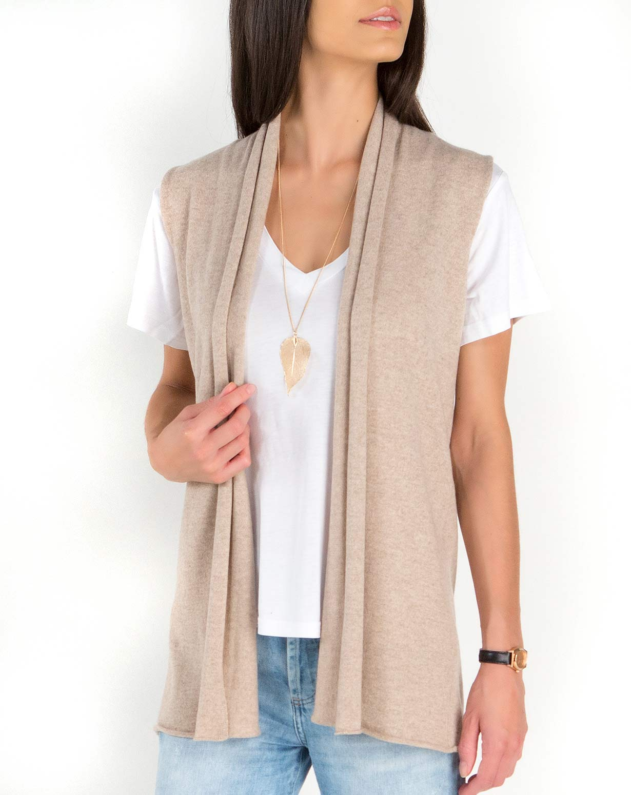 8887edda5b4dd Women s Pure Cashmere Sleeveless Cardigan