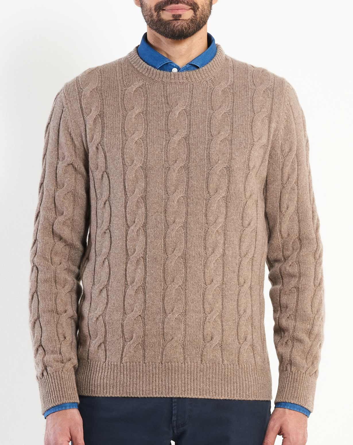 Mens Cashmere Cable Knit Crew Neck Maisoncashmere
