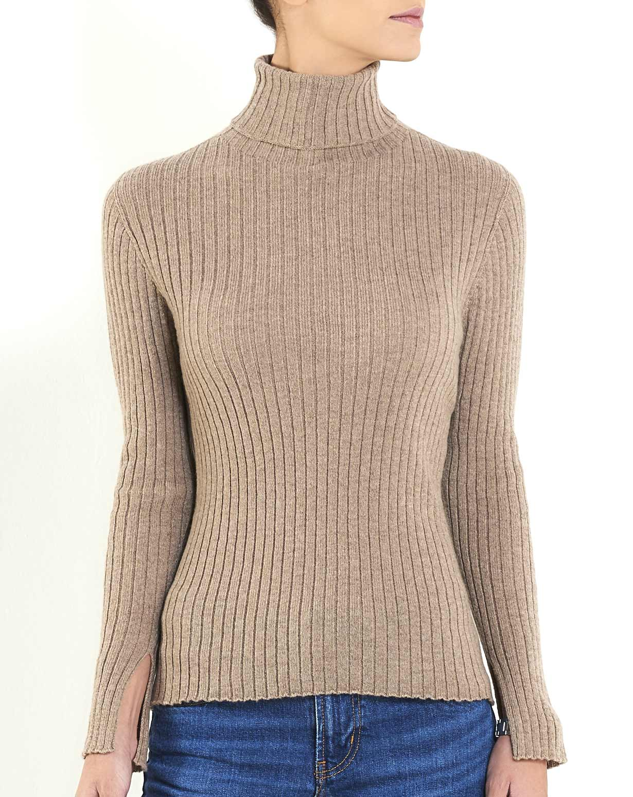 62533c85abcc Women s Cashmere Vertical Rib Turtleneck Sweater