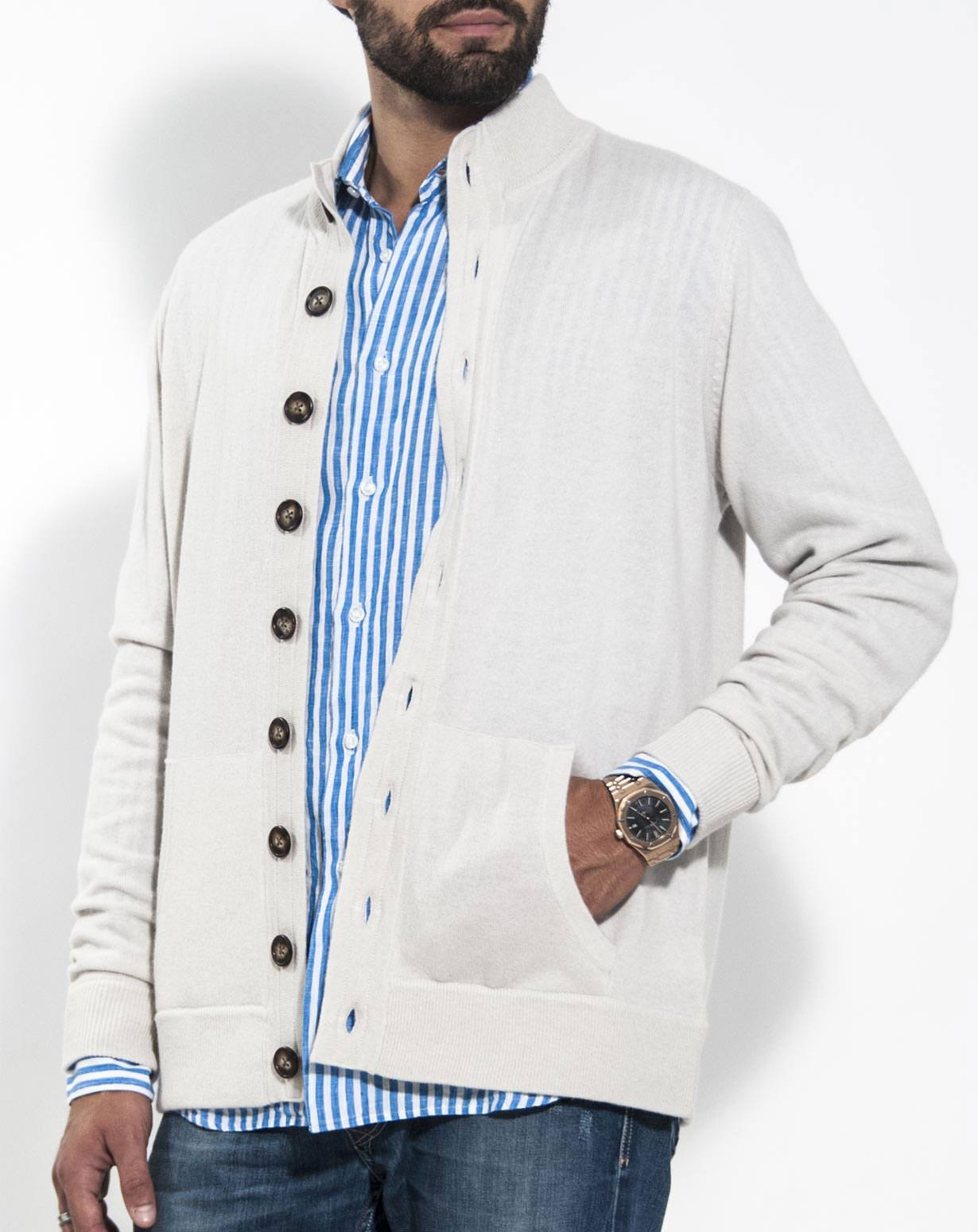 Polo Cardigan Mens - Gray Cardigan Sweater