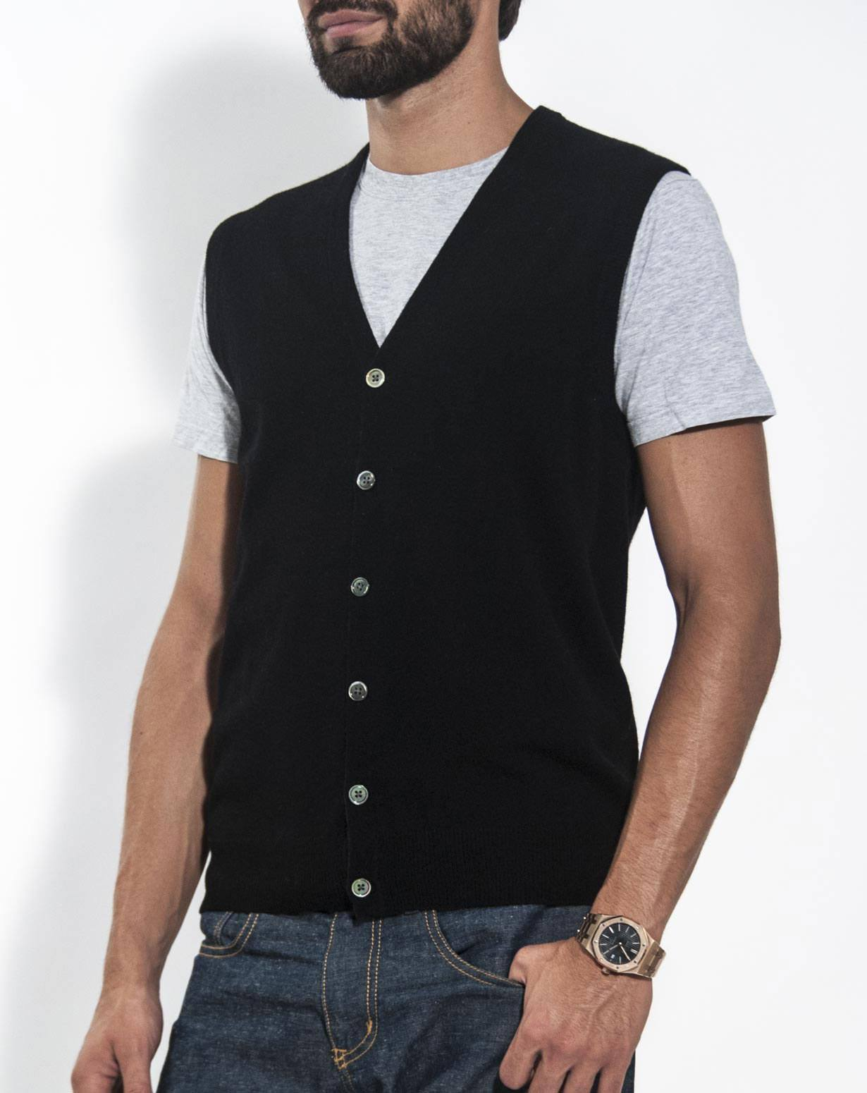 Men's Pure Cashmere Sleeveless Cardigan