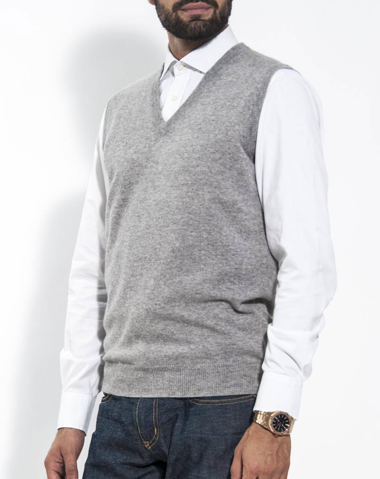 Men's Pure Cashmere Sleeveless Jumper