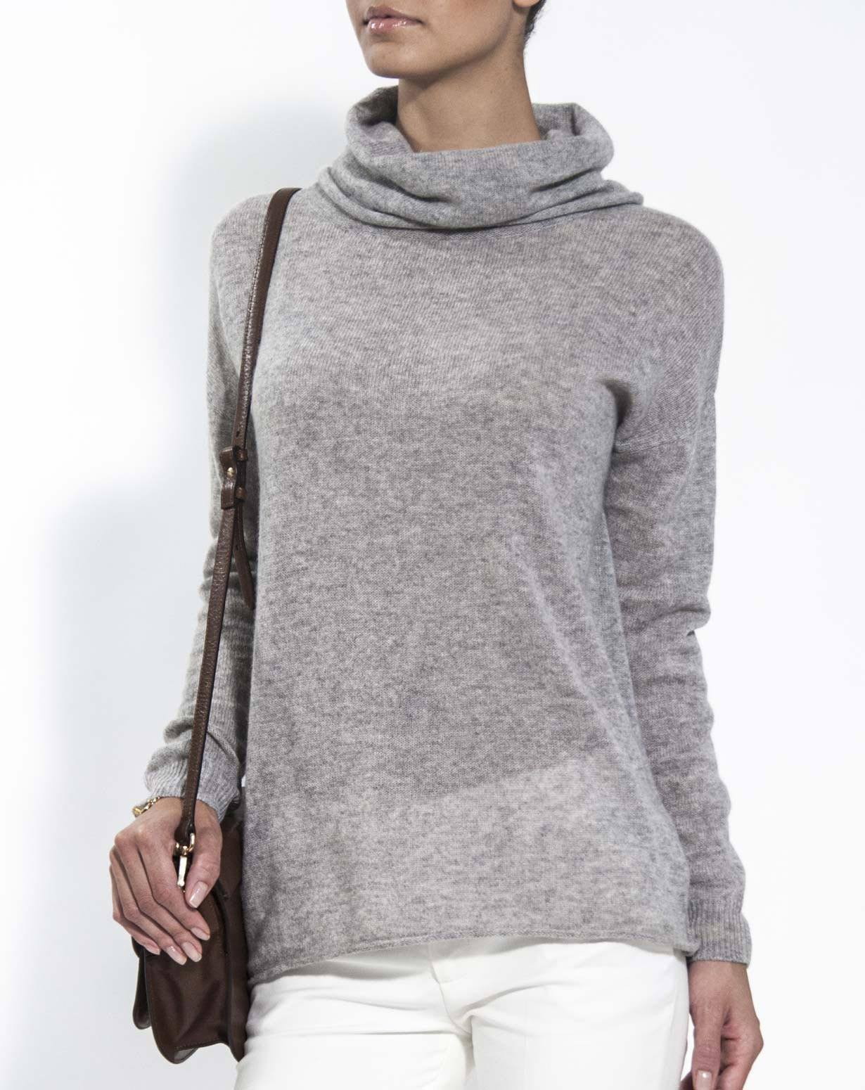 Ladies' Oversized Cashmere Cowl Neck Jumper