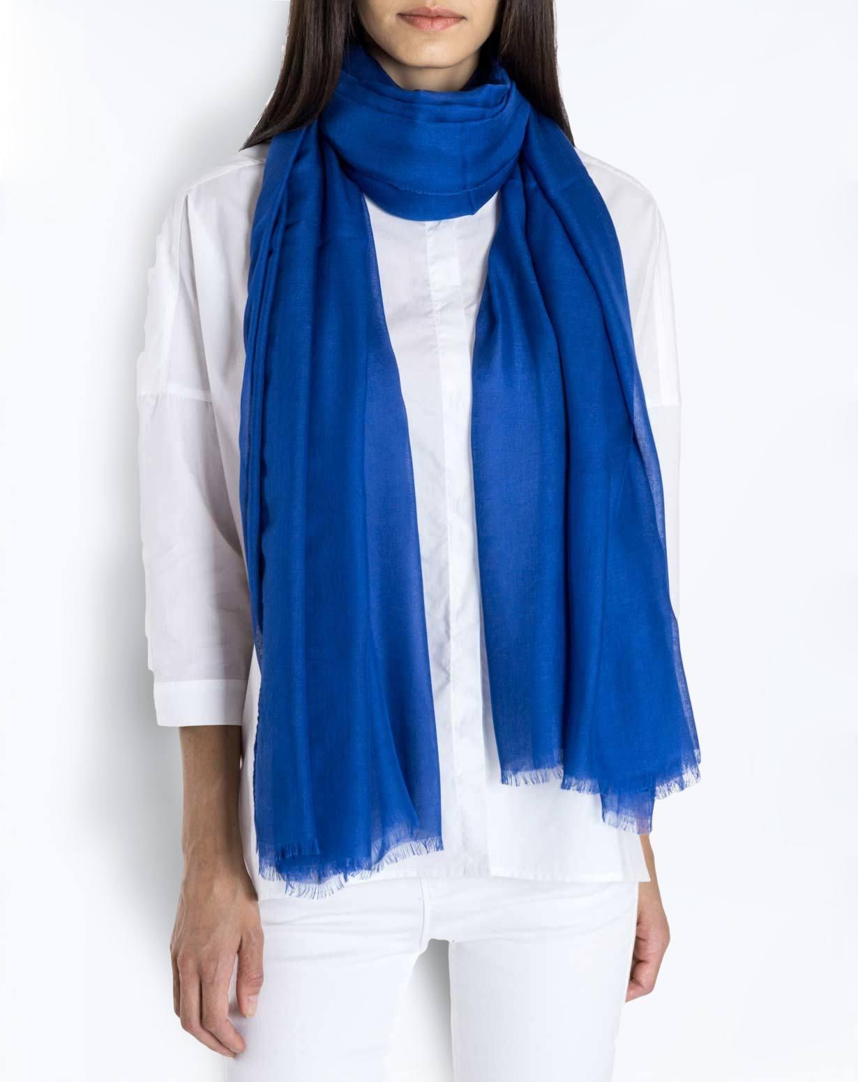 Cashmere Blend Pashmina - Cornflower Blue