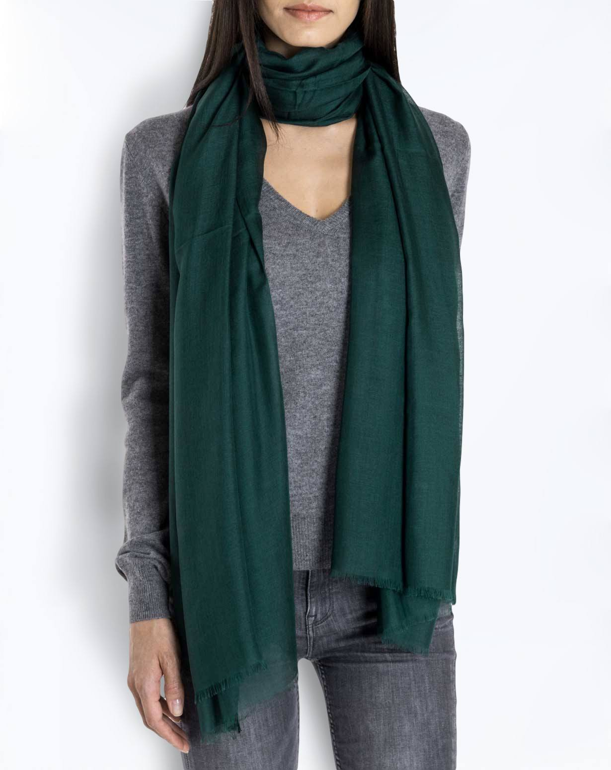 Cashmere Blend Pashmina - Forest Green