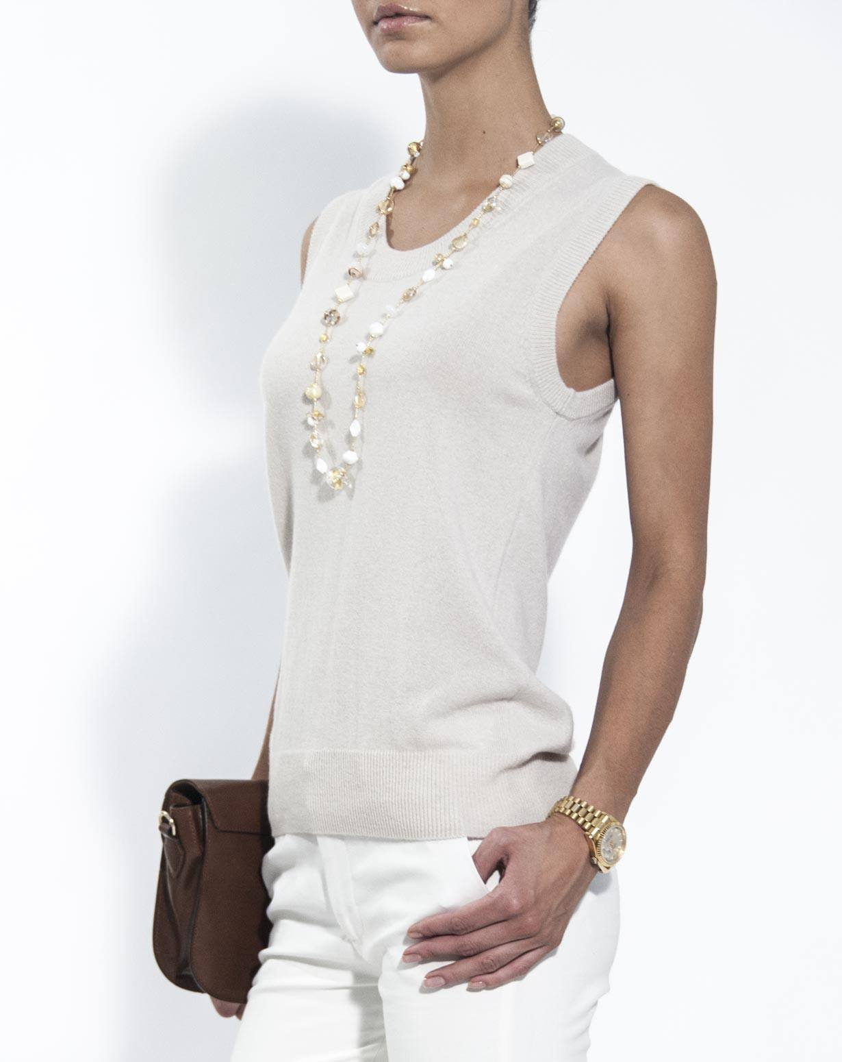 Ladies' Pure Cashmere Knit Tank Top