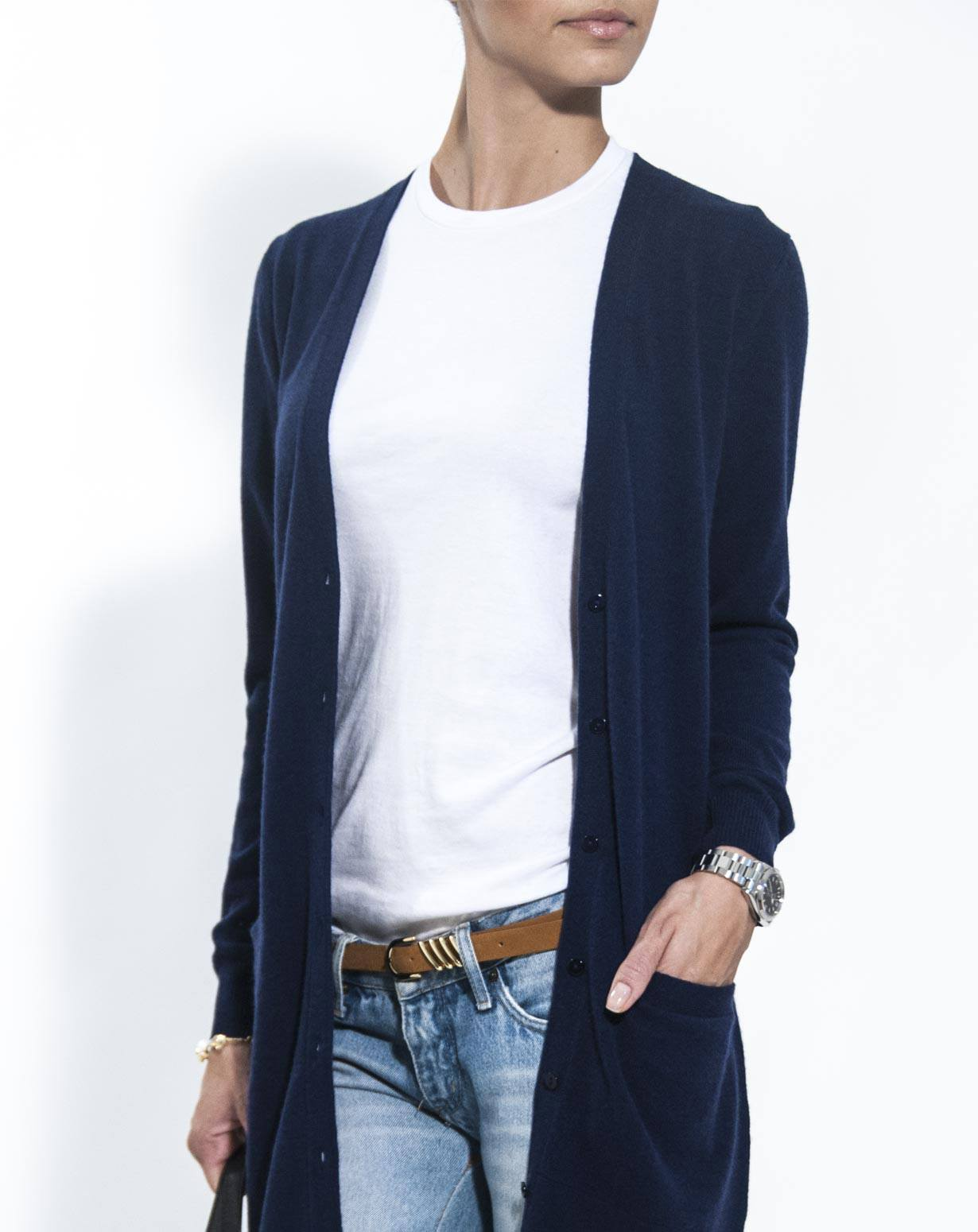 Ladies Navy Blue Cardigan - Cashmere Sweater England