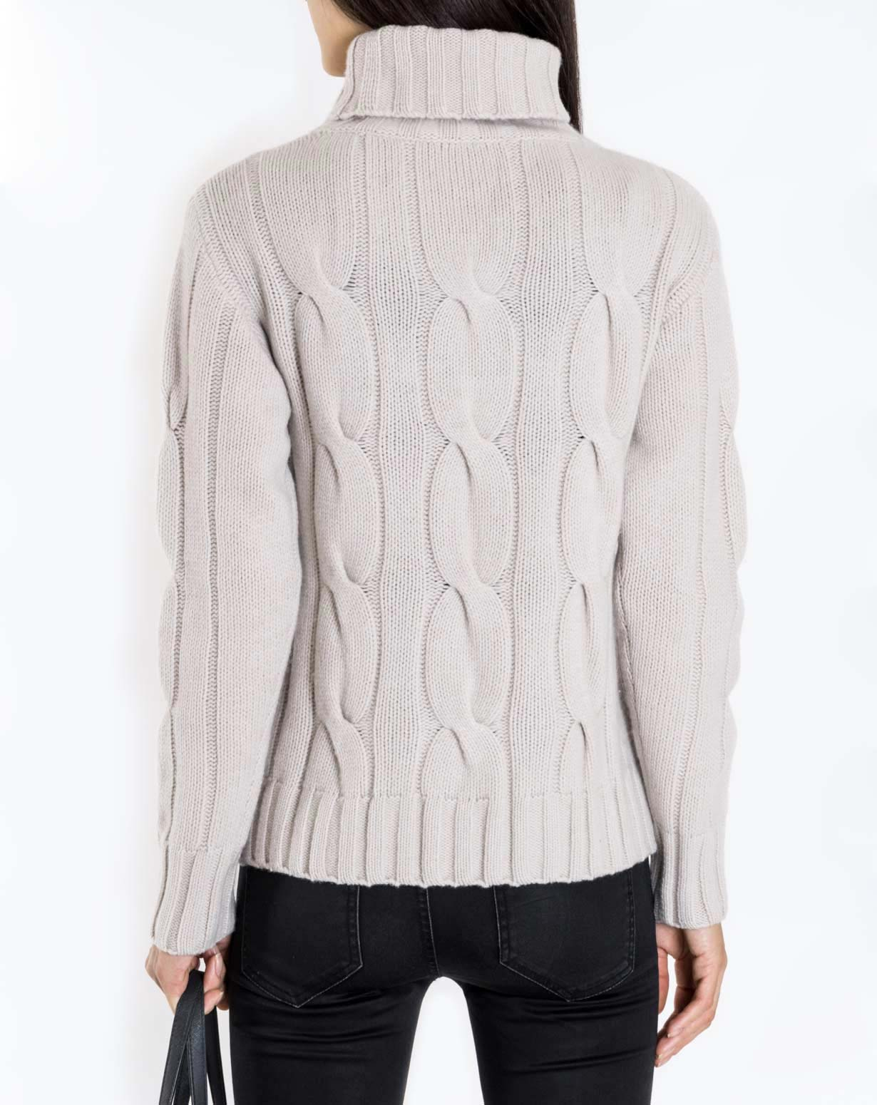 e3b344f66e Women s Pure Cashmere Cable Knit Turtleneck Sweater