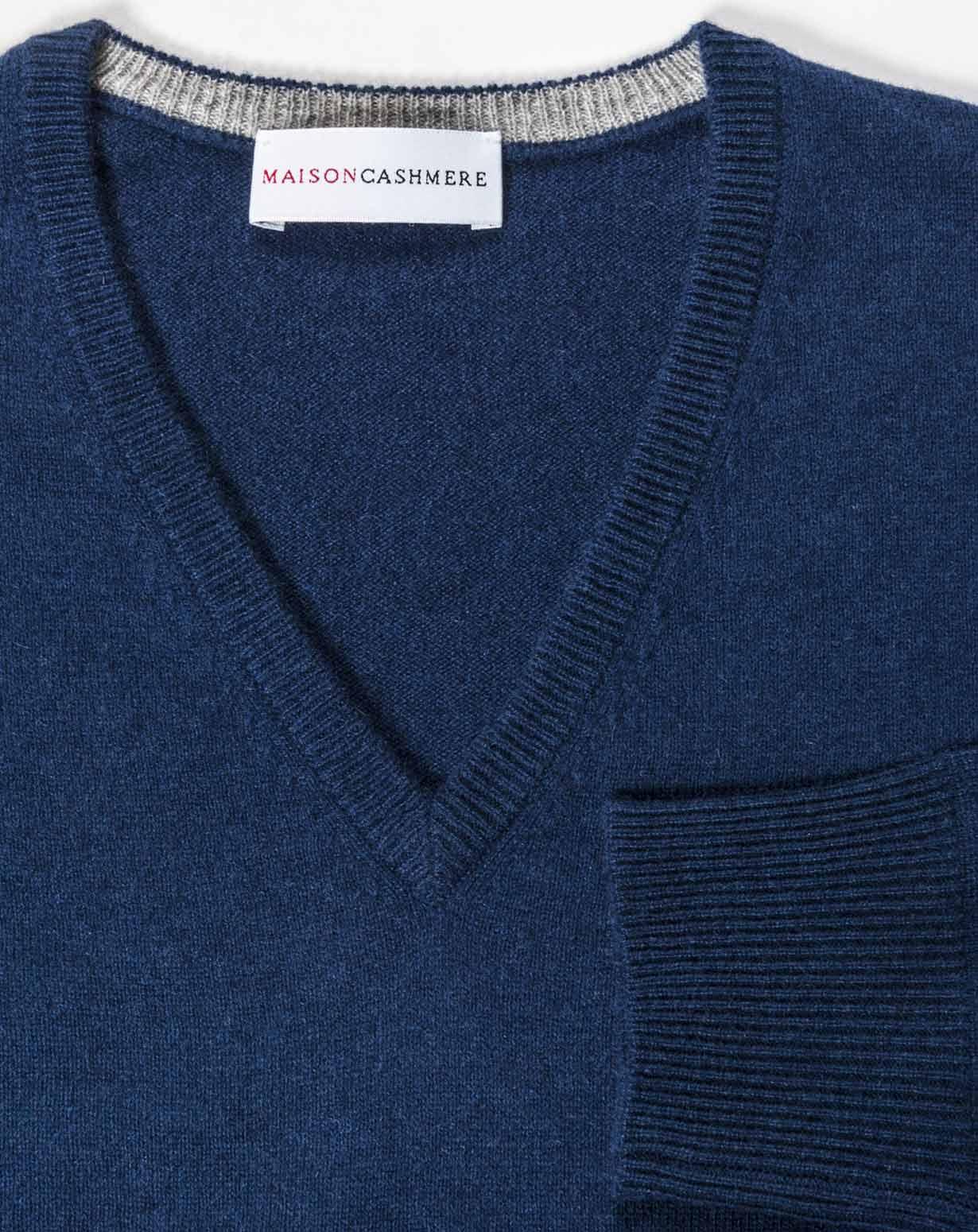 lana de con Jersey de pico en cuello cachemiraMaisoncashmere UqLSzVpMG