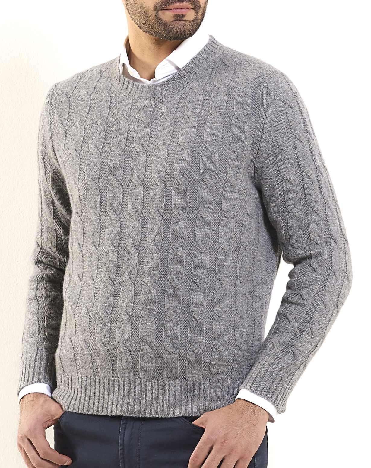 Men's Pure Cashmere Cable Knit Crew Neck