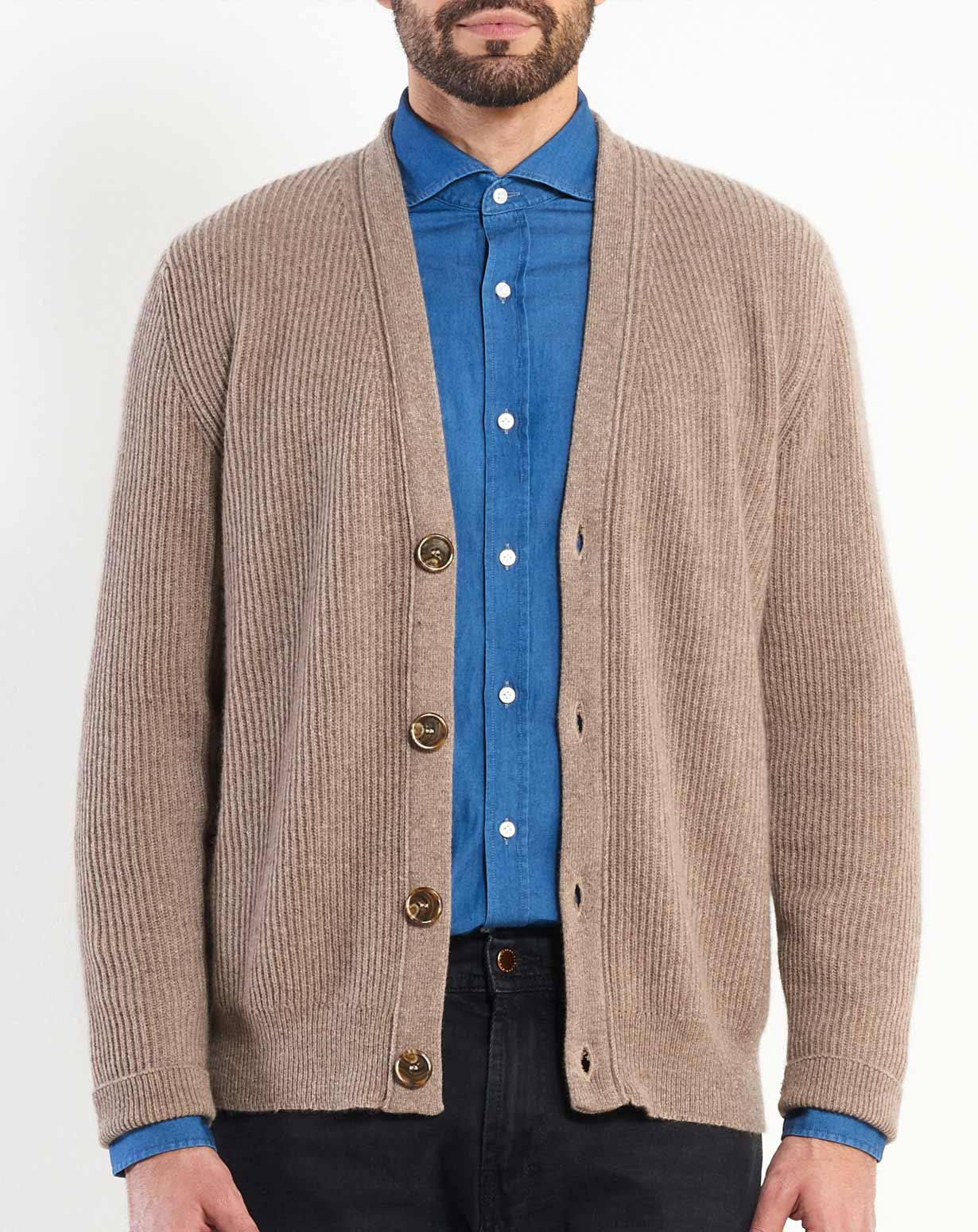 Men's Cashmere Fisherman Rib Cardigan