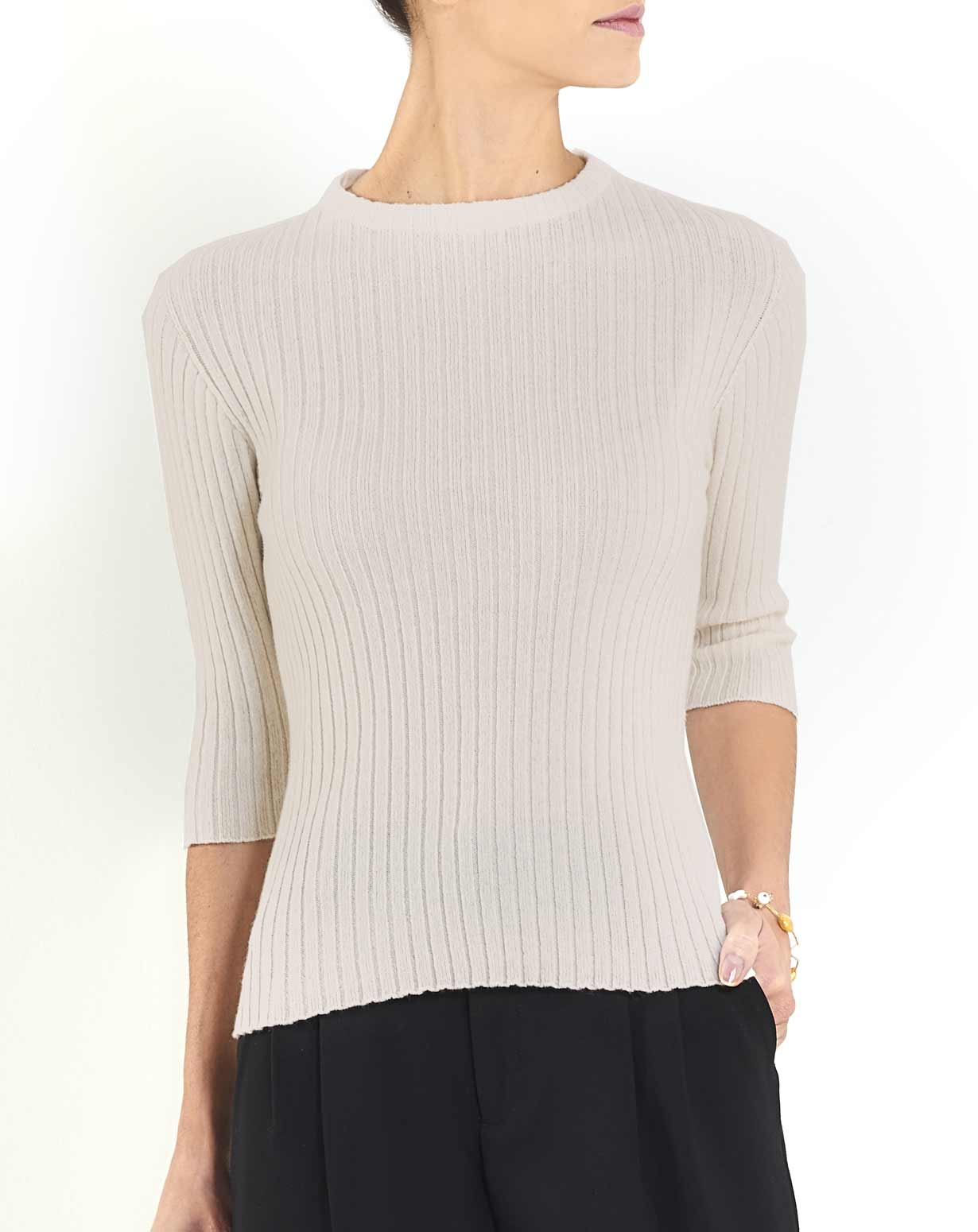 Ladies' Cashmere Ribbed 3/4 Sleeve Crew Neck
