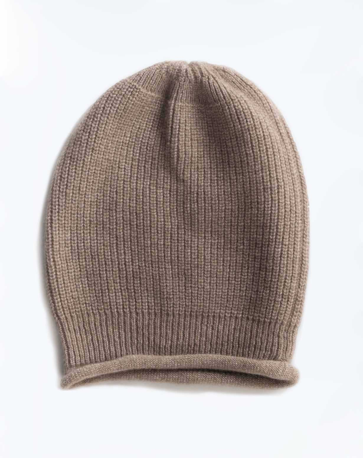 Men's Pure Cashmere Ribbed Beanie Hat