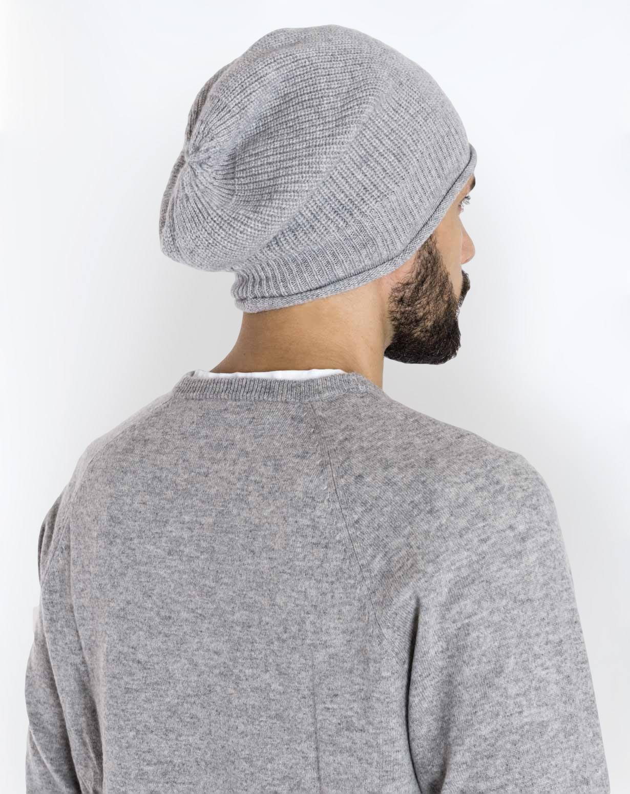 Men s Pure Cashmere Ribbed Beanie Hat  53421f5a6c62