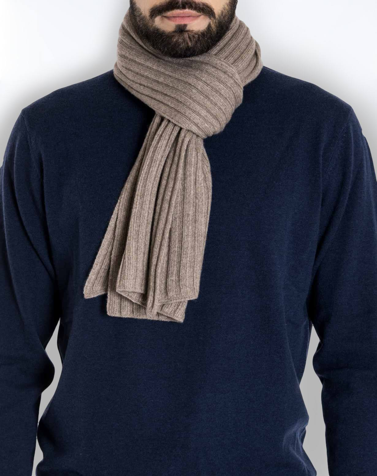 Knitting Pattern For Mens Cashmere Scarf : Mens Pure Cashmere Ribbed Scarf MaisonCashmere