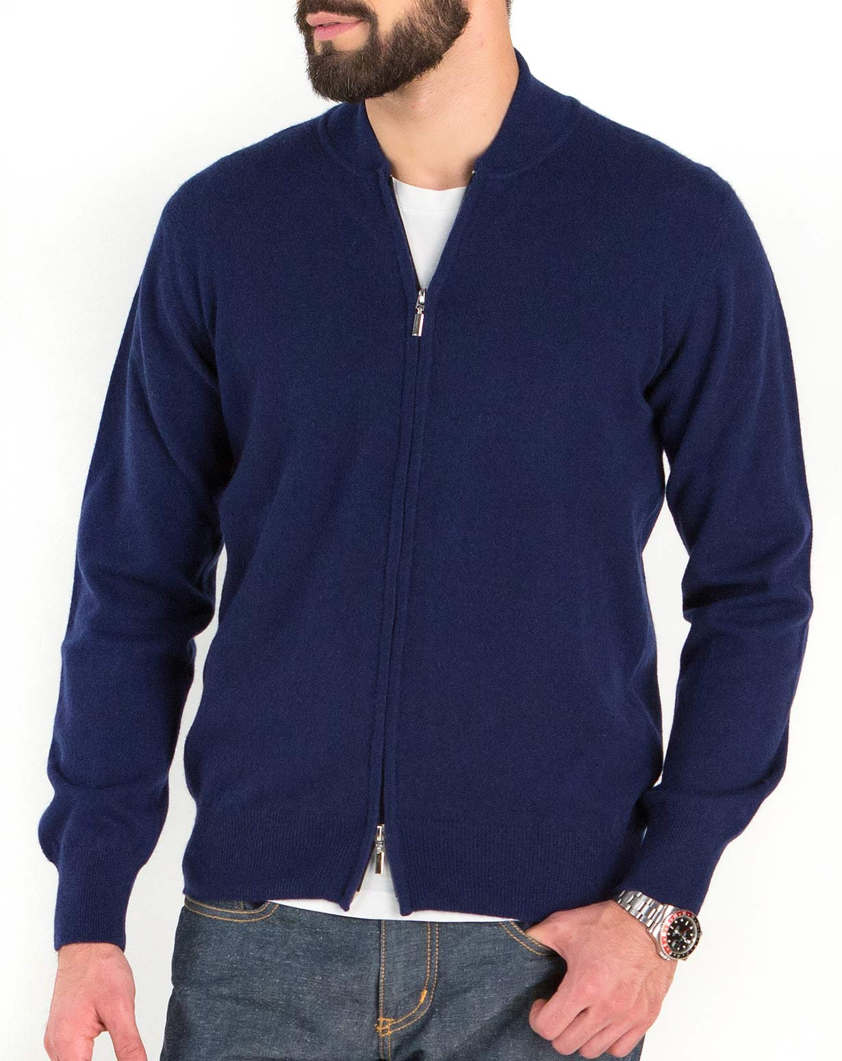 Men's Pure Cashmere Baseball Collar Cardigan