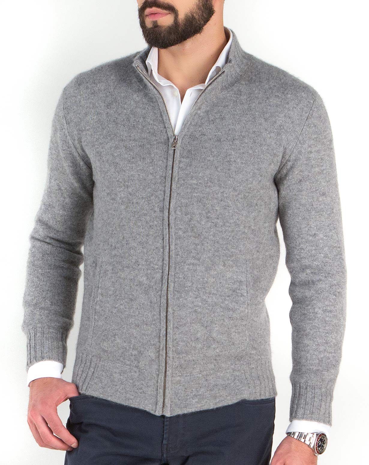 Men's Pure Cashmere Polo Neck Zip Cardigan