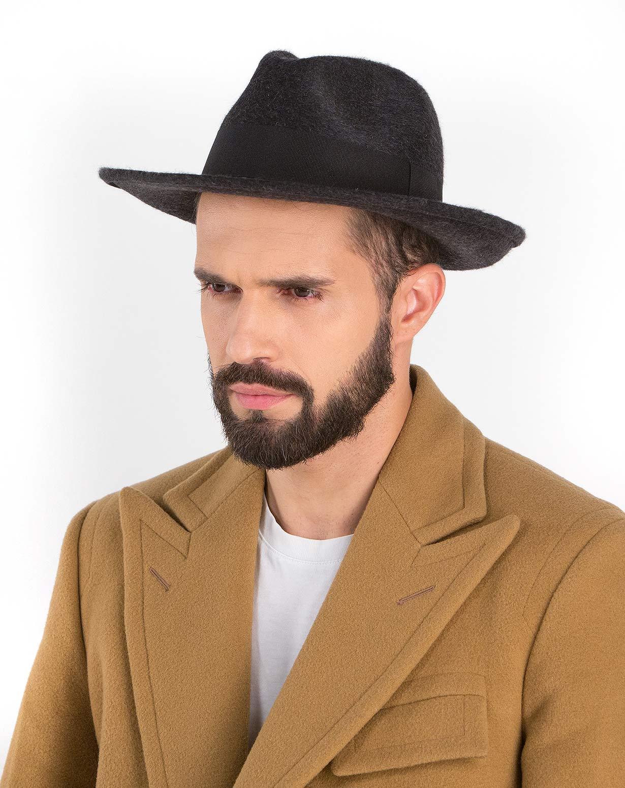 Fedora Hut Herren mit erhobenen Krempe in Cashmere