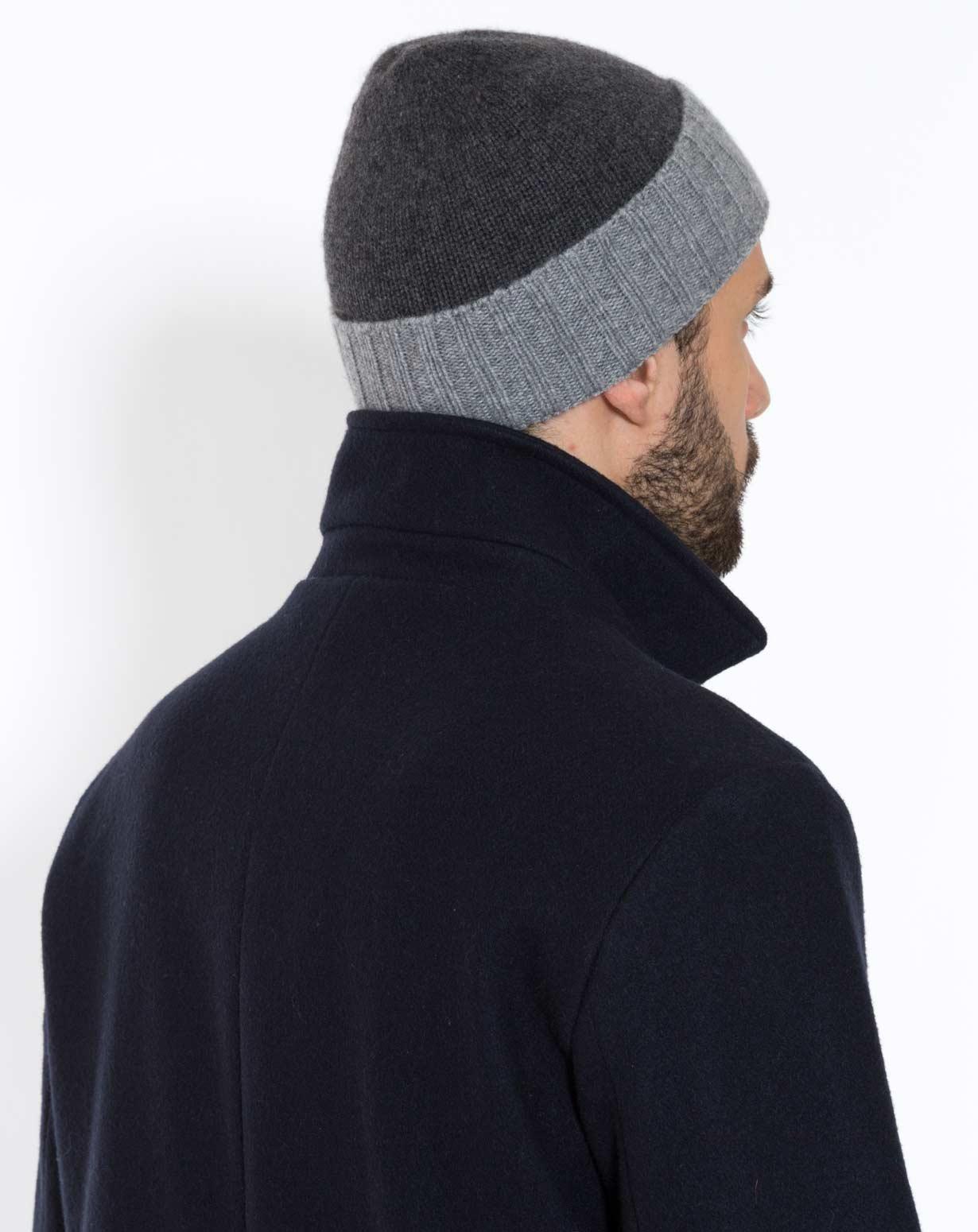 Zweifarbige Mütze in Cashmere