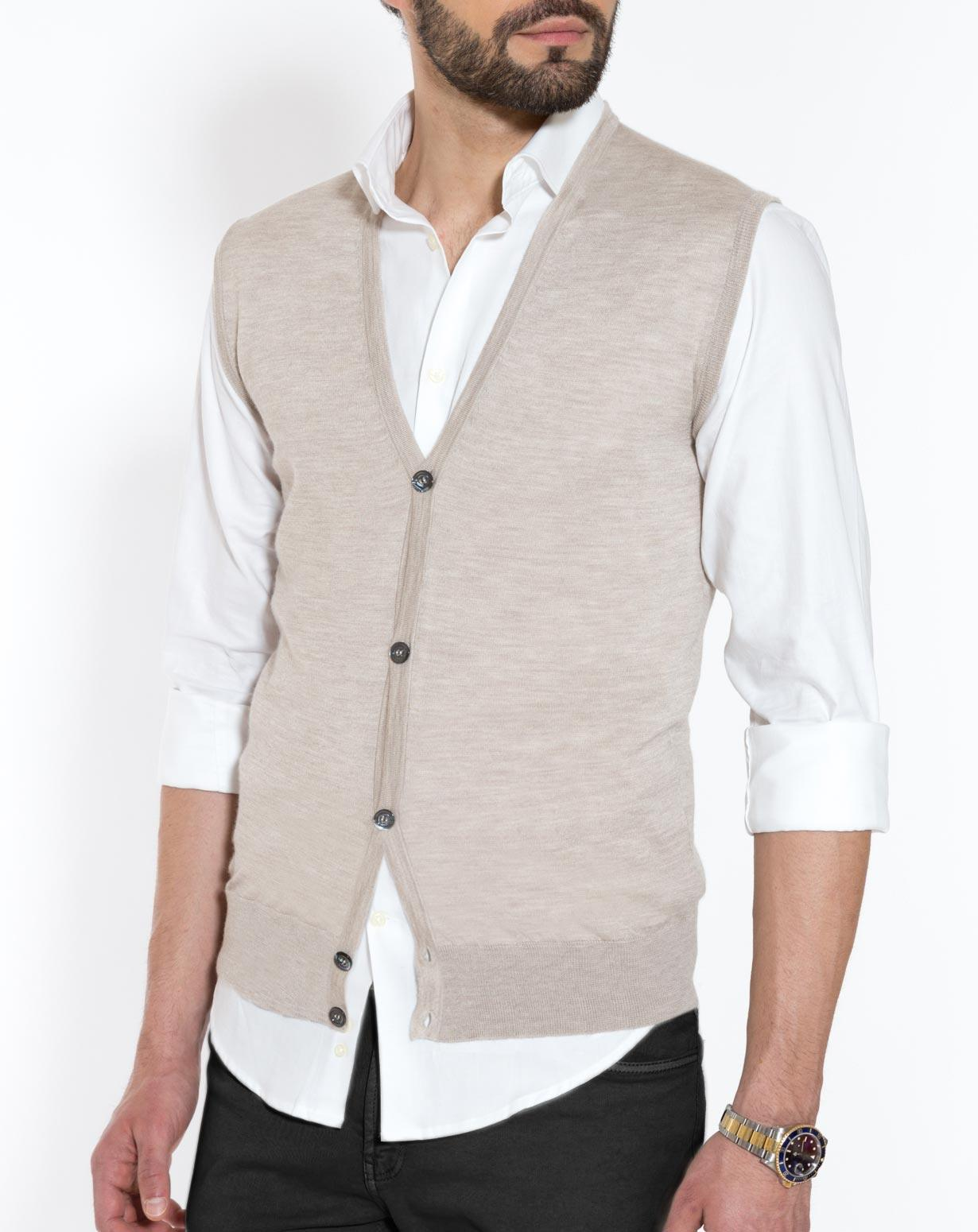 Men's Silk Cashmere Sleeveless Cardigan