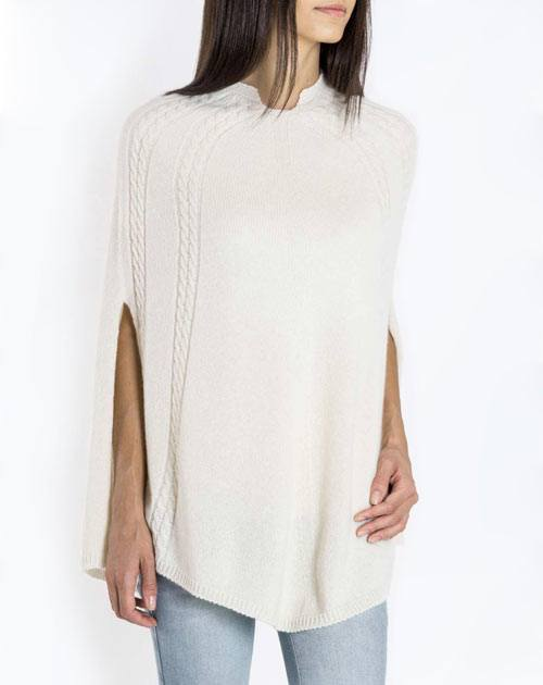 Women's Pure Cashmere Cable Knit Poncho