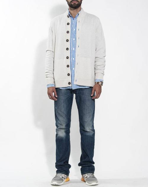 Men's Pure Cashmere Polo Neck Cardigan