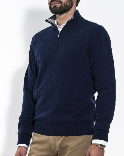 Men's Pure Cashmere Half Zip Sweater