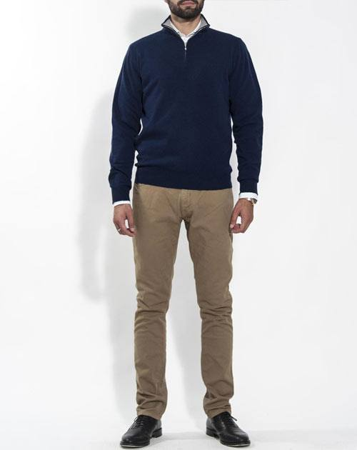 Men's Pure Cashmere Zip Neck Jumper