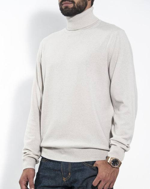 Men's Pure Cashmere Polo Neck Jumper