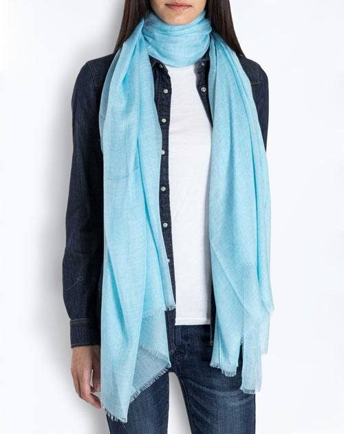 Cashmere Blend Pashmina - Light Blue