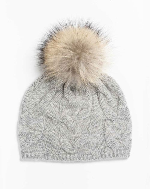 Ladies' Pure Cashmere Pom-Pom Hat