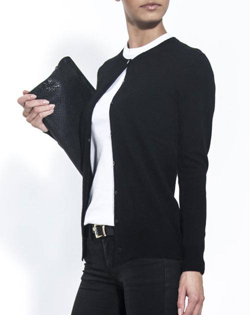 Ladies' Pure Cashmere Crew Neck Cardigan