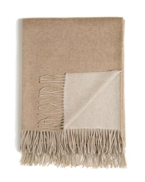 Double-Faced Woven Cashmere Throw with Fringes