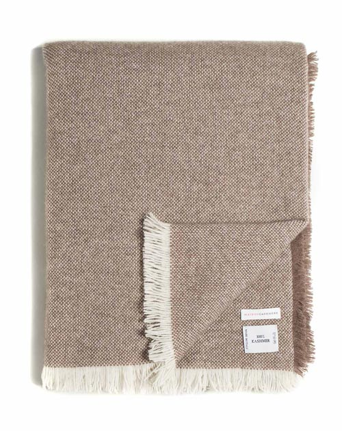 Pure Cashmere Woven Blanket with Fringes