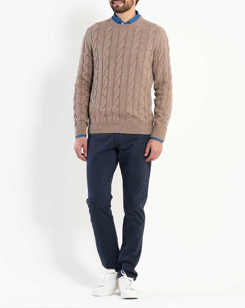 Men's Pure Cashmere Cable Knit Crew Neck