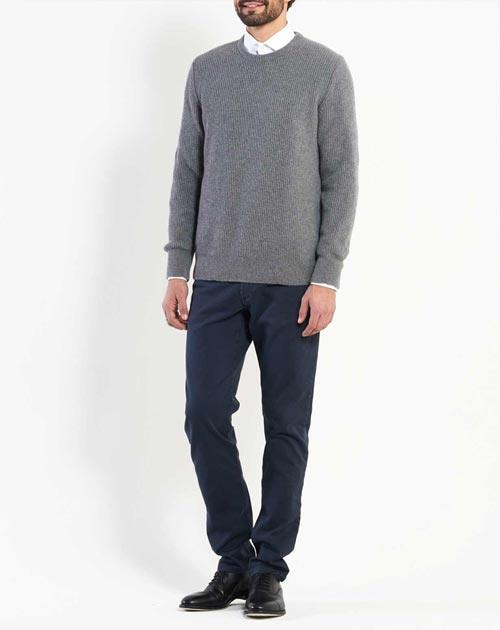 Men's Cashmere Fisherman Rib Crew Neck