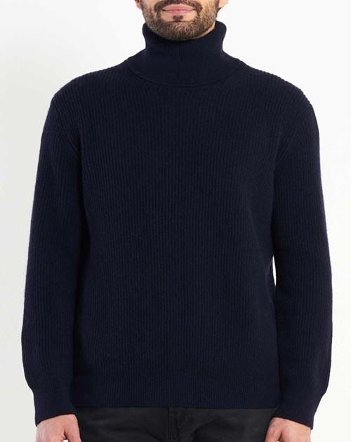 Men's Cashmere Fisherman Rib Turtleneck