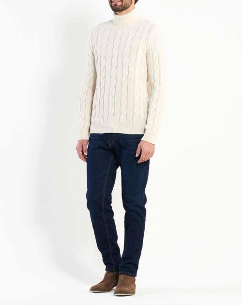 Men's Cable Knit Cashmere Turtleneck