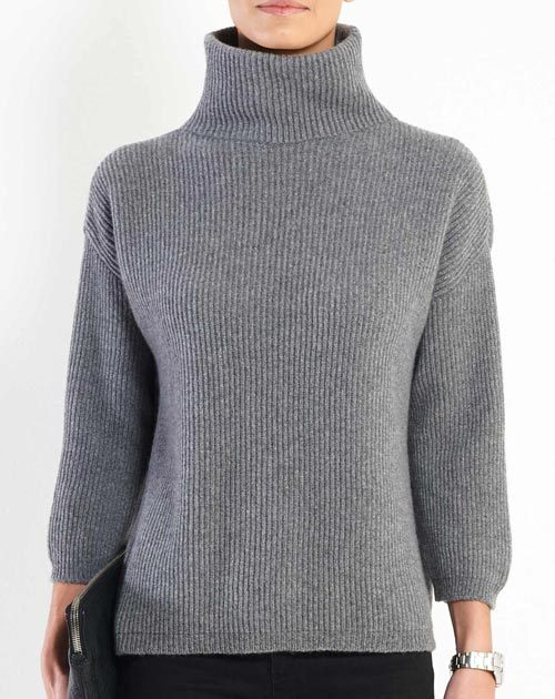 Ladies' Cashmere 3/4 Sleeve Polo Neck