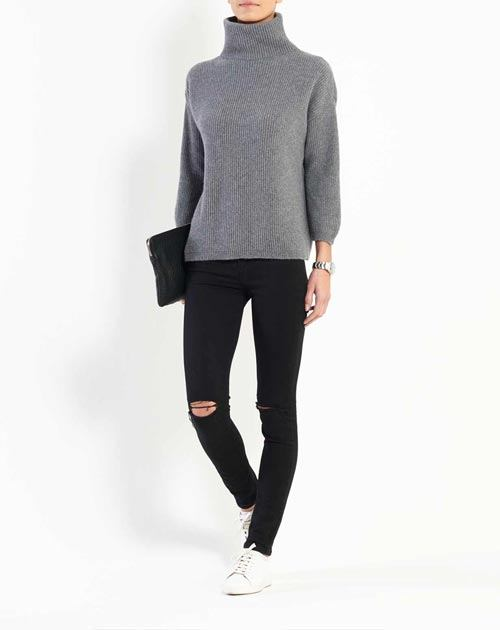 Women's Cashmere 3/4 Sleeve Turtleneck