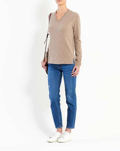 Women's Cashmere Side Slit V Neck