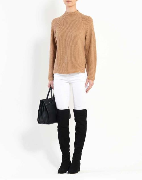 Ladies' Merino-Cashmere Ribbed Funnel Neck