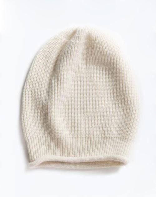 Pure Cashmere Ribbed Beanie Hat