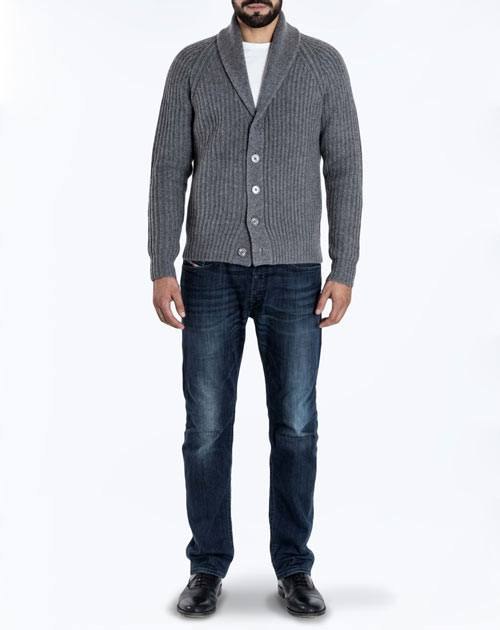 Men's Pure Cashmere Fishermen's Rib Cardigan