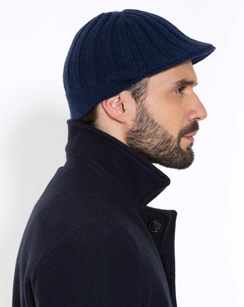 Men's Pure Cashmere Knit Flat Cap