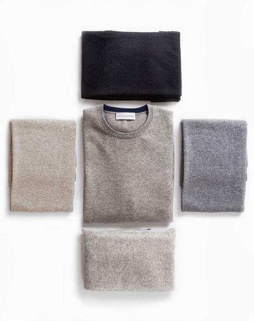 Men's Light Grey Cashmere Crew Neck & Scarf Set