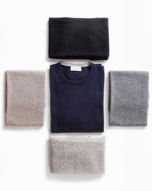 Men's Navy Blue Cashmere Crew Neck & Scarf Set