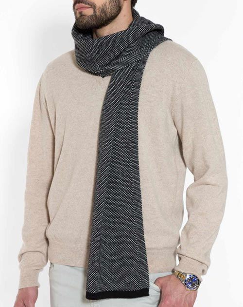 Men's Pure Cashmere Puppytooth Scarf